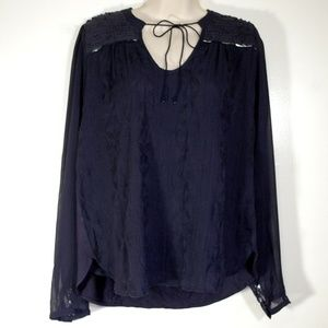 Anthropologie Tiny Blouse Embroidered Navy Top